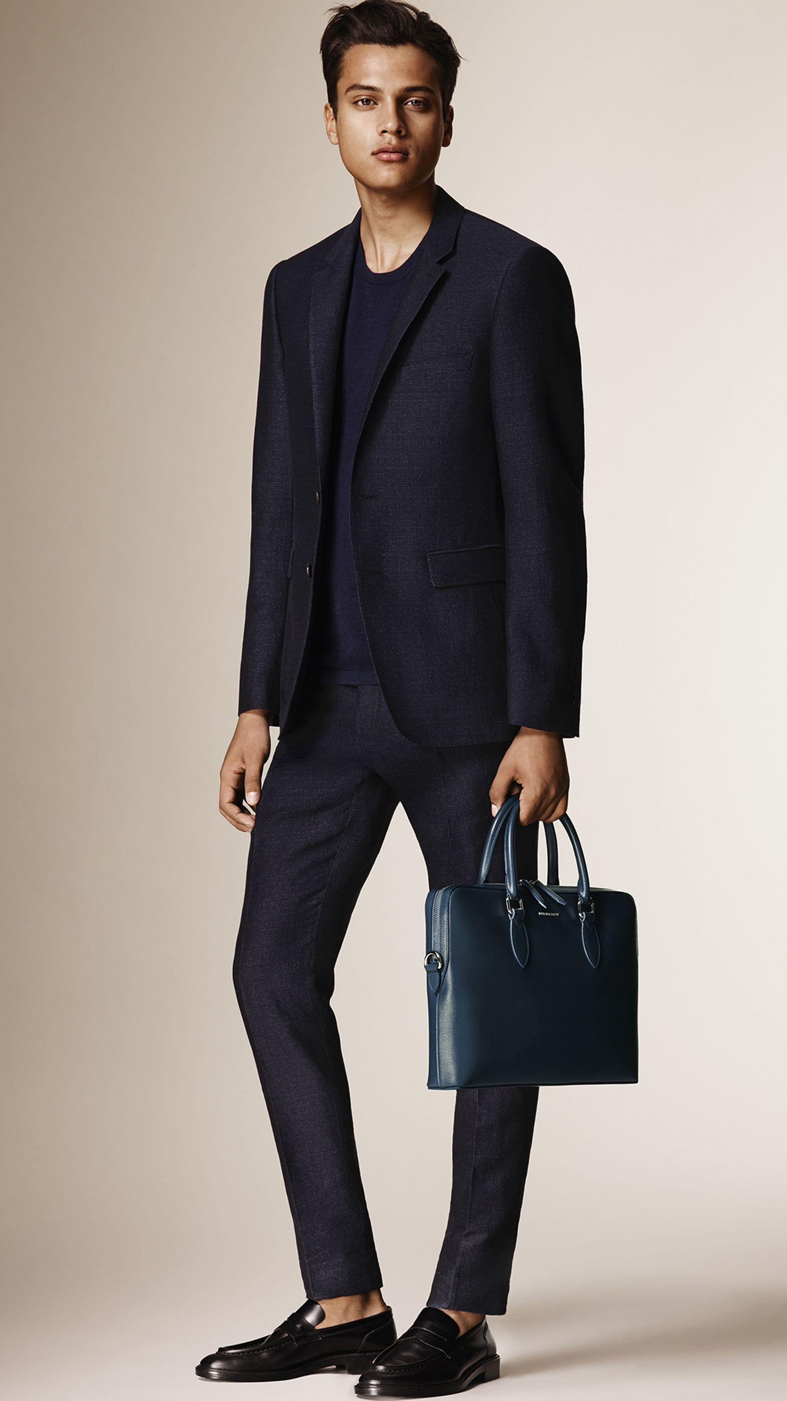 Slim Fit Flecked Cotton Linen Wool Tailored Jacket Navy | Burberry