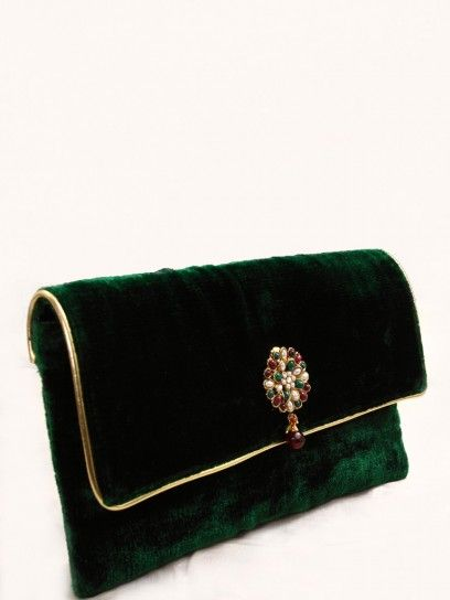 fe6b9d8a8f36 Green Velvet Rectangular Clutch | Creative-Designs / Ideas | Green ...