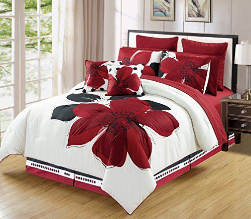 12 Piece Burgundy Red Black White Floral Bedinabag California Cal King Size Bedding Sheets Accent Pillows Comfo Comforter Sets Black Bedding Cheap Bed Linen