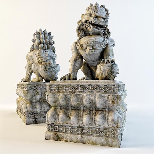 Chinese Stone Lion Statue 3d model 3ds Max,Autodesk FBX