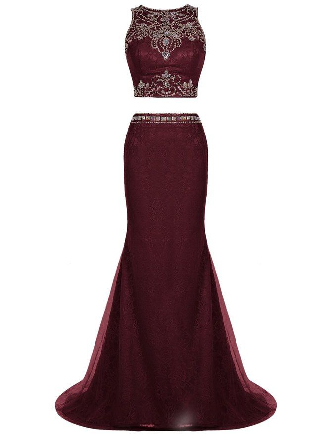 Two Pieces Long Evening Dress Mermaid Lace Prom Dress Beading ...