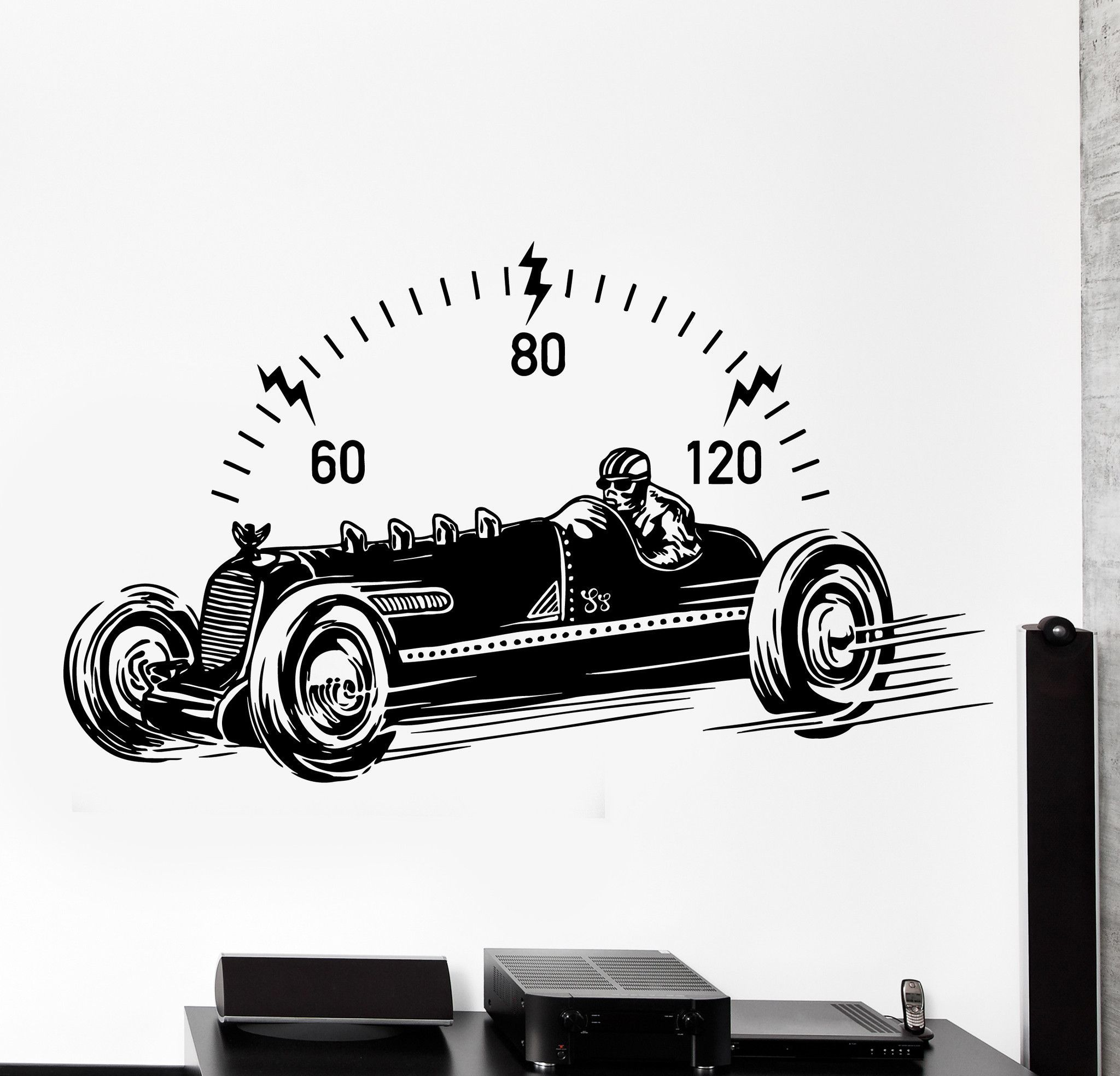 Wall vinyl decal retro racing car automobile motor home interior decor z4112