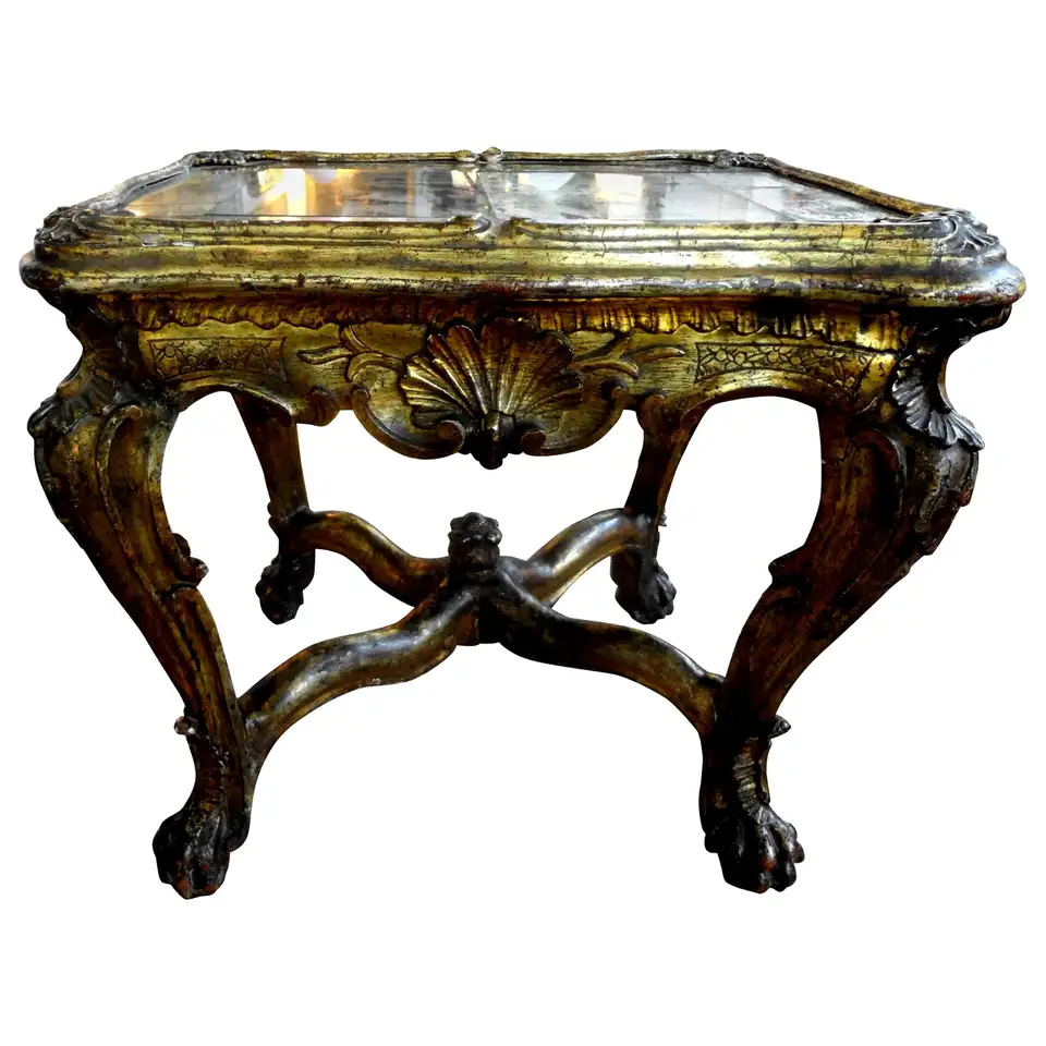 18th Century Venetian Giltwood Table With Mirrored Top In 2020 Side Table Brass Cocktail Table 18th Century