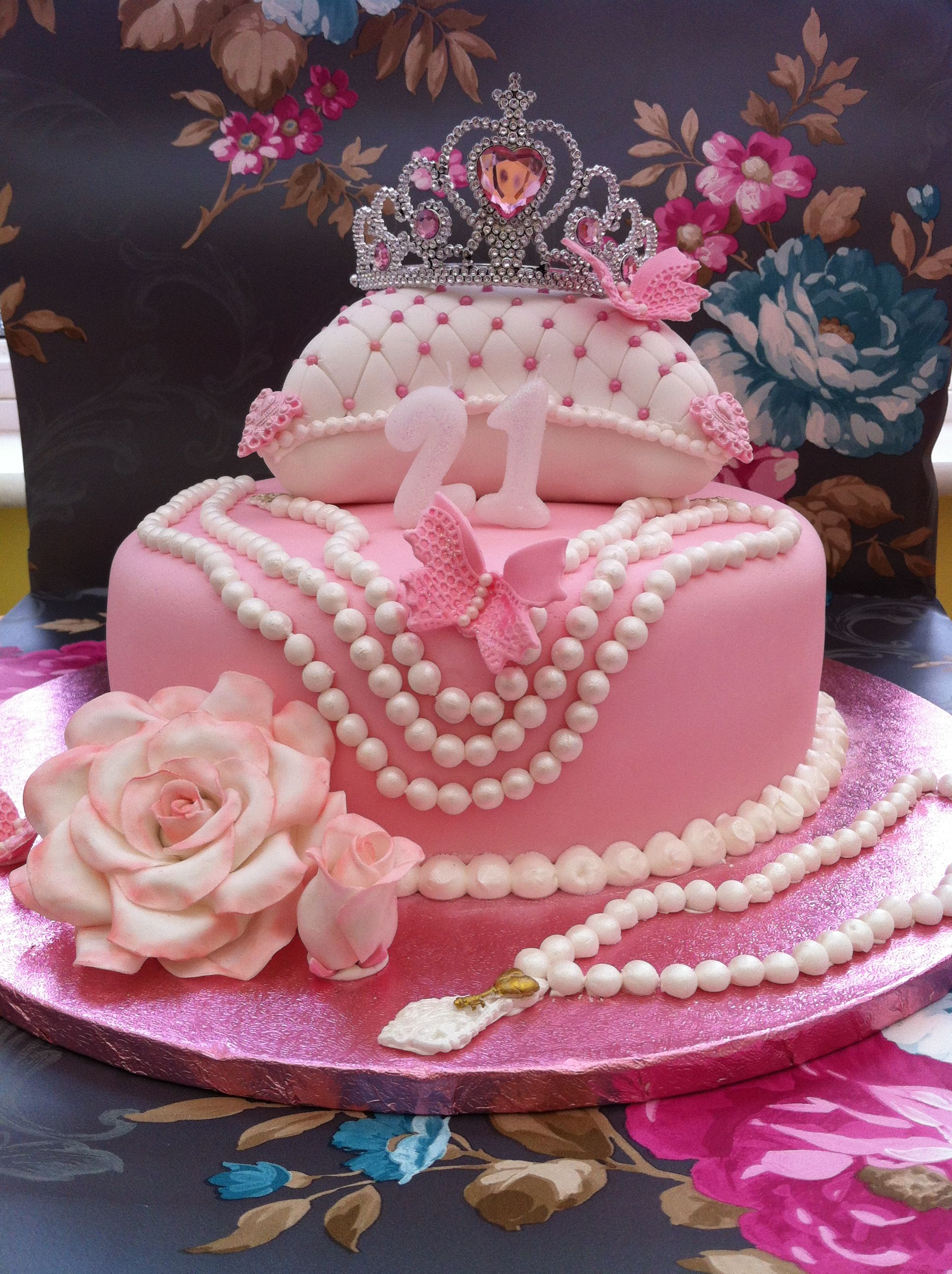 Incredible 21St Birthday Cake For My Niece My First Time Using My Pearl Mould Funny Birthday Cards Online Sheoxdamsfinfo