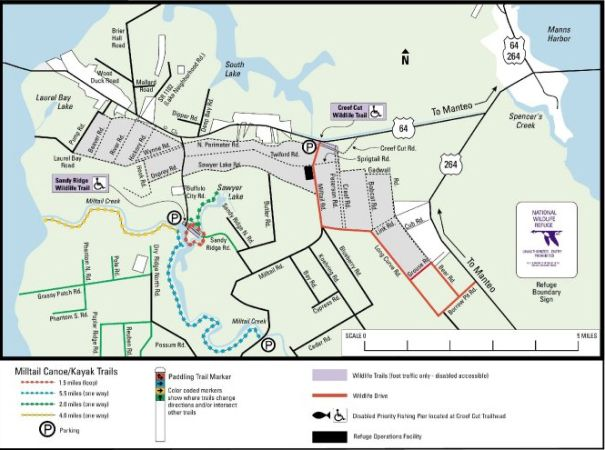 Map Of Alligator River National Wildlife Refuge Outer Banks North