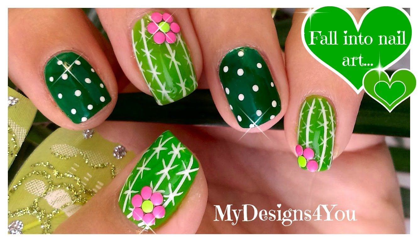 simple summer nail art | Fun Cactus Nail Art | Easy Summer Nails ...