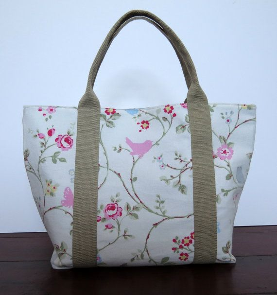 Handmade womens shopper or knitting bag in a bird trail fabric. The straps are sturdy and easy to hold. Bags can be made to order.
