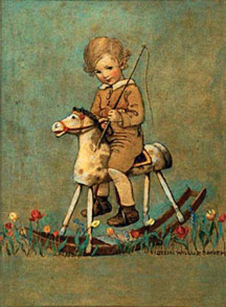 Image result for artwork rocking horse in spring blossom