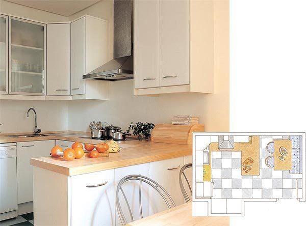 C mo distribuir la cocina cocinas ideas para ba os y planos for Cocina 3x3 metros