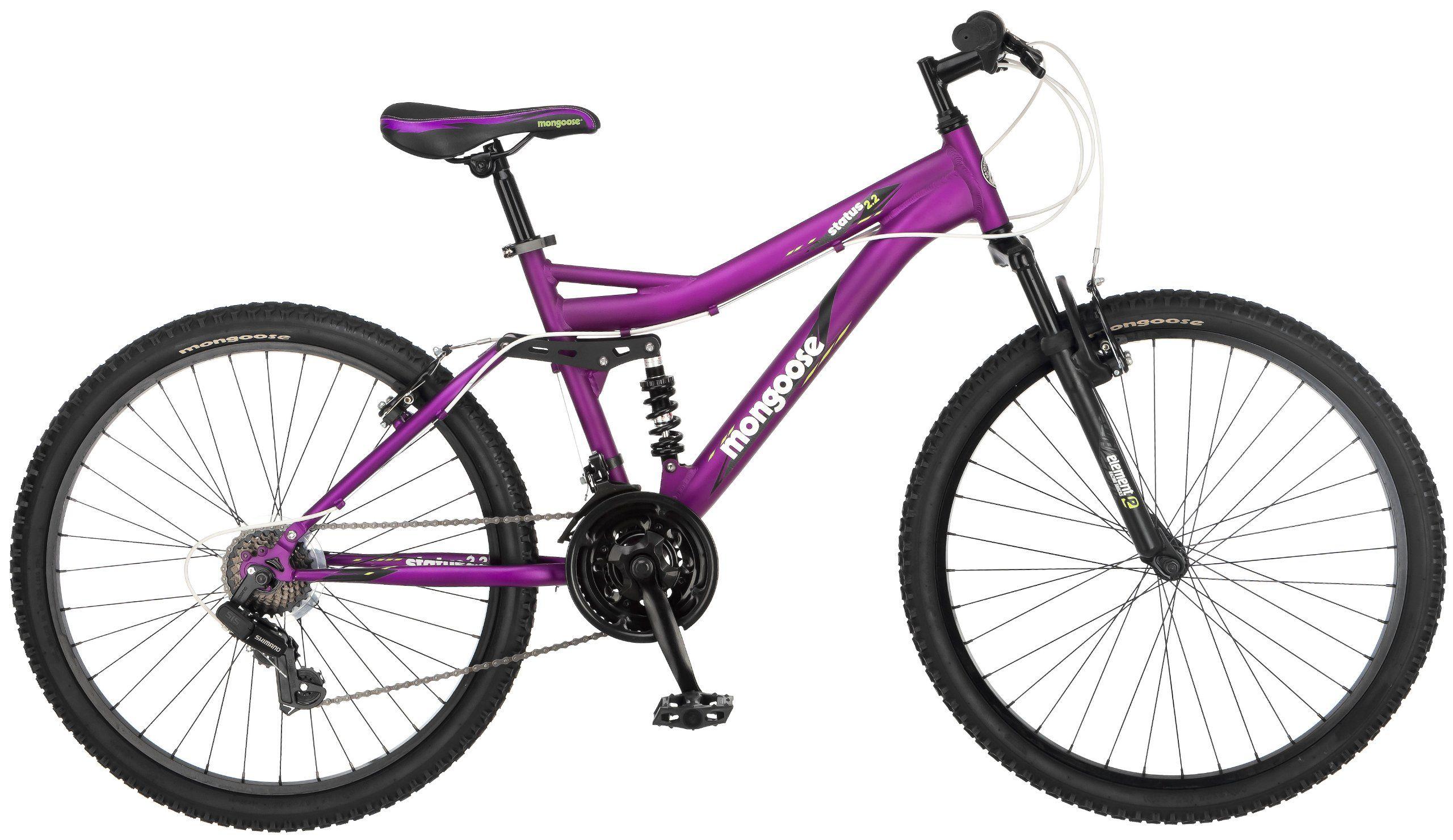 Amazon Com Mongoose Women S Status 2 2 Full Suspension Bicycle 26 Inch Wheels Matte P Cheap Mountain Bike Mens Mountain Bike Full Suspension Mountain Bike