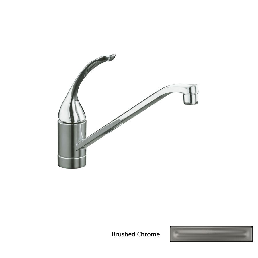 Shop KOHLER Coralais Brushed Chrome Handle LowArc Kitchen Faucet - Lowes kitchen faucets kohler