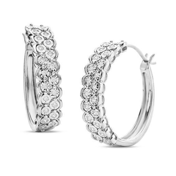 Zales Amethyst and 1/4 CT. T.W Diamond Triple Loop Earrings in Sterling Silver ghqiOR