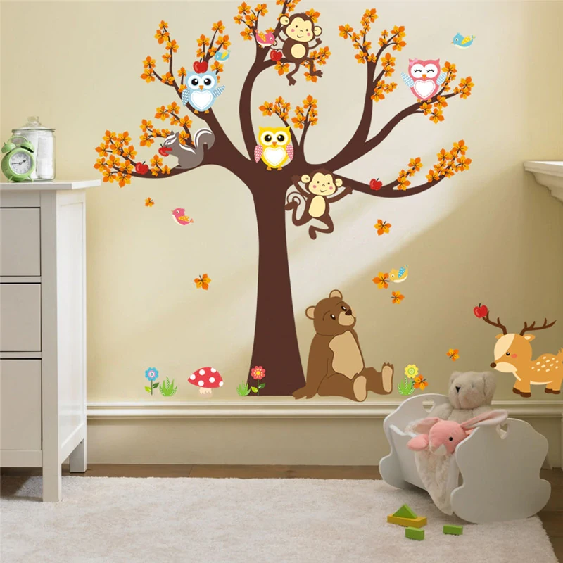 Cartoon Woodland Animals Tree Life Nursery Wall Art Decal Owls