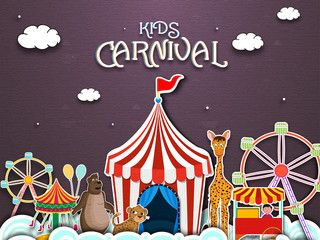Kids Carnival Illustration with Tent Spinning Wheel and Cute Animals