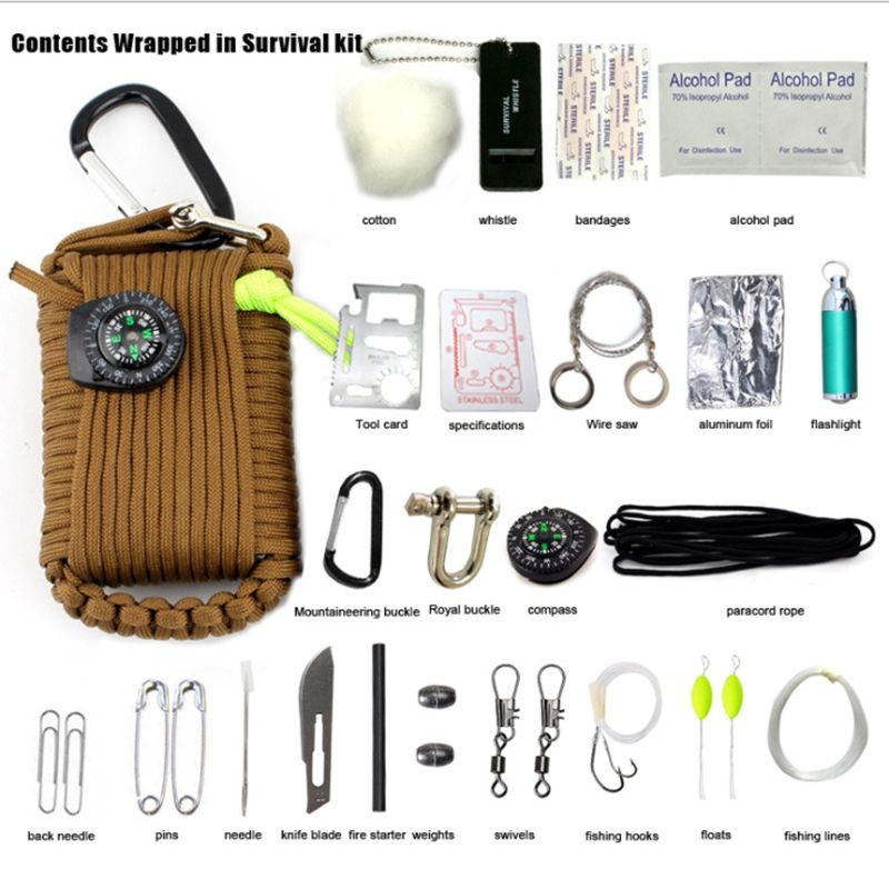 YT 29 in 1 Protable Outdoor SOS EDC Paracord Survival Kit Emergency Gear Fire Star Whistle Compass Rescue Rope Cutter Bag(China (Mainland))