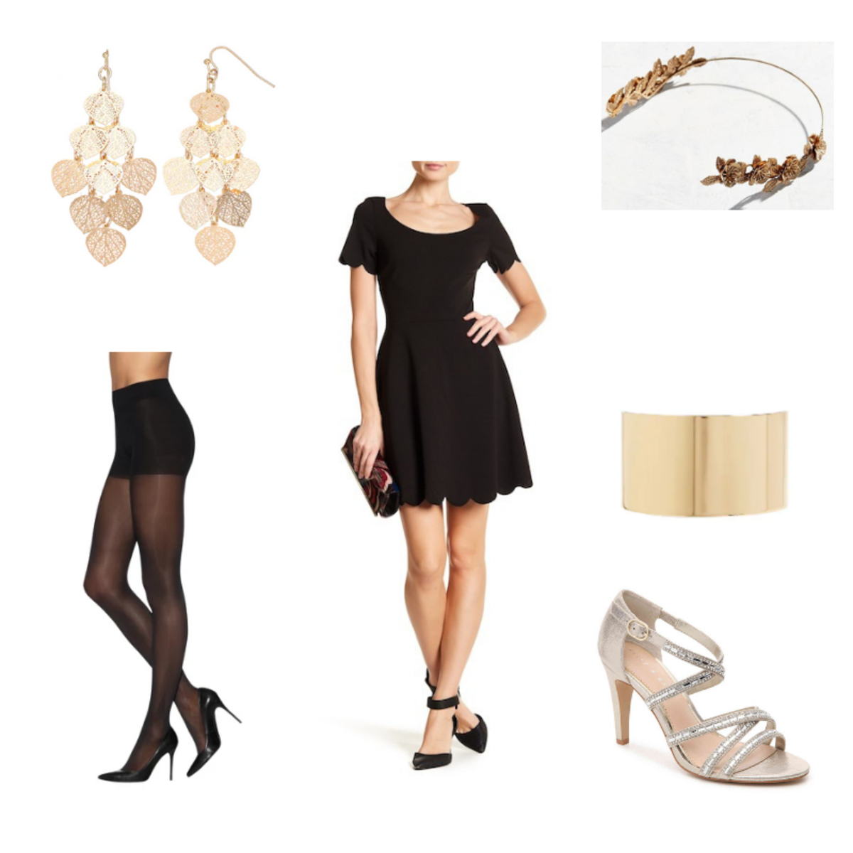 Outfit With Scalloped Black Dress Tights Gold Heels Gold Cuff Gold Headband And Dangly Gold Earrings Wear Black Dresses Dresses With Black Tights Fashion [ 1200 x 1200 Pixel ]