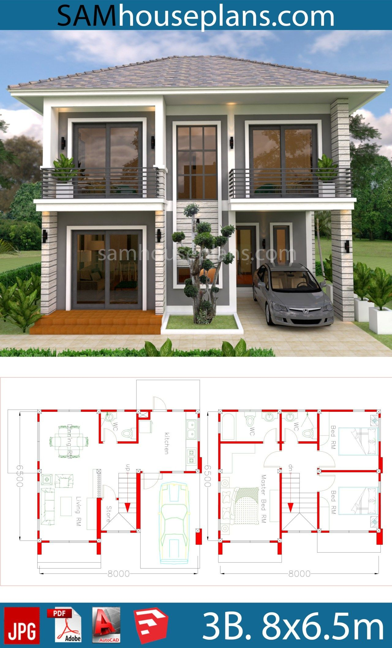House Plans 8x6.5m With 3 Bedrooms en 2020 | Plan maison ...