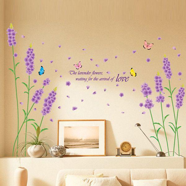 Lavender Wall Stickers Bedroom Decoration Romantic Living Room Sofa ...