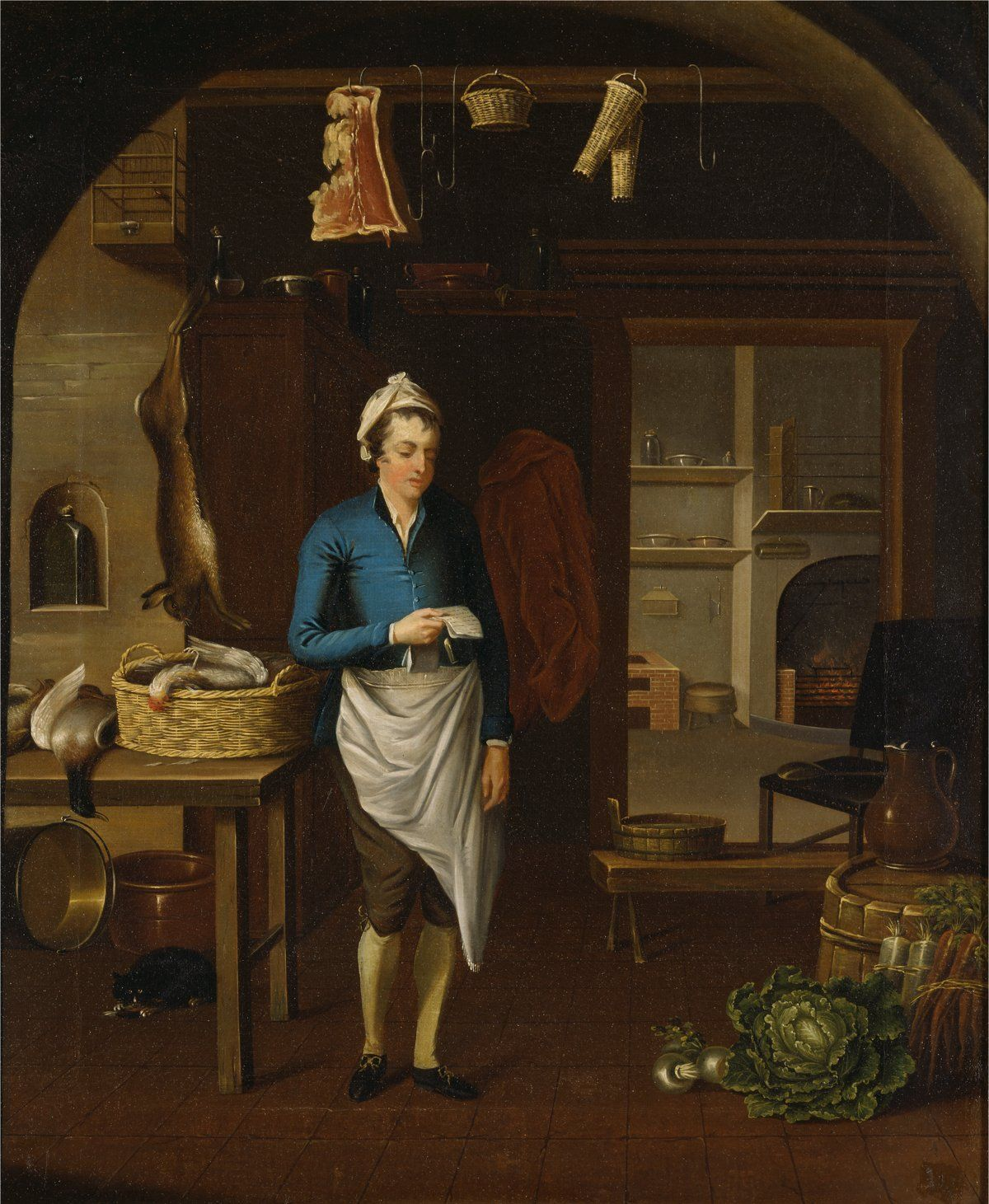 18th century kitchen worker kitchen scene by john atkinson for 18th century cuisine