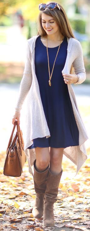 bbd239868af Gray Waterfall Hooded Cardi Navy Swing Dress Fall Street Style Inspo by  Southern Curls and pearls