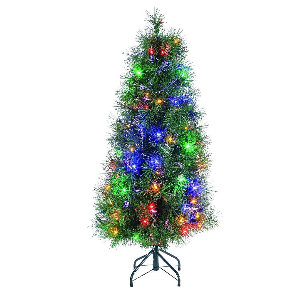 4\' Pre-Lit Led Artificial Christmas Tree Fiber Optic - Multicolored ...