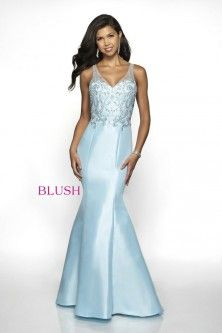 75f76b80b39 Blush 11724 Fitted Prom Dress with Beaded Illusion