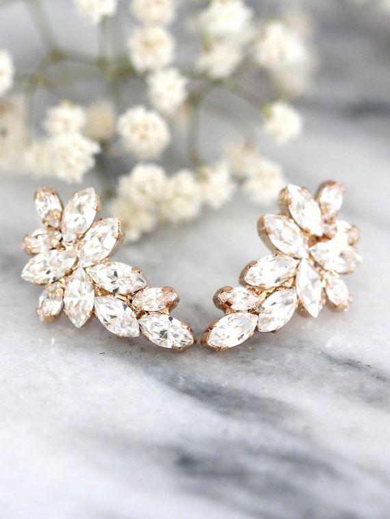 accogliente fresco varietà di design vivido e di grande stile Orecchini in oro rosa da sposa, orecchini Swarovski Crystal ...