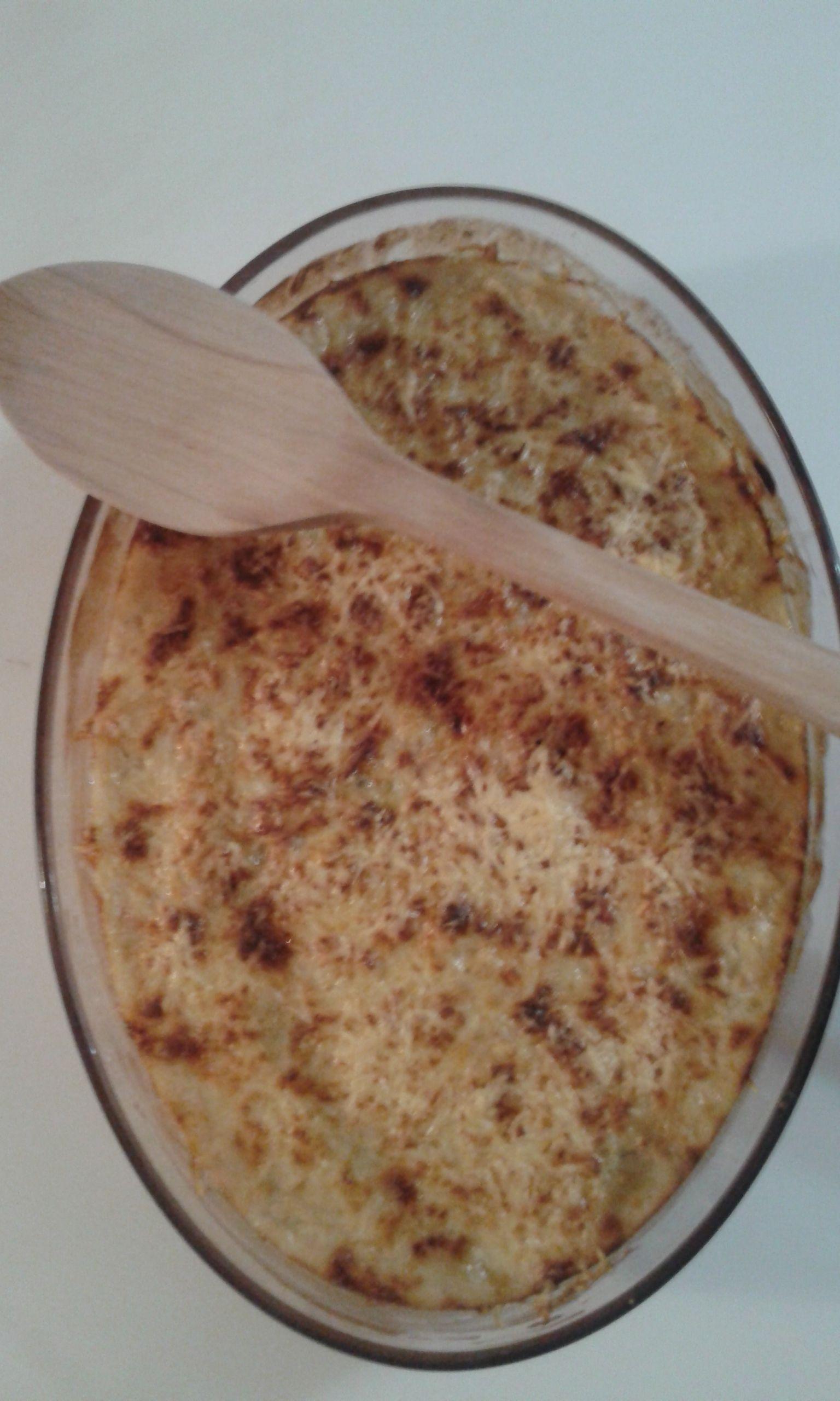 Gratin de chou blanc aux lardons oignon et gruyère rapé
