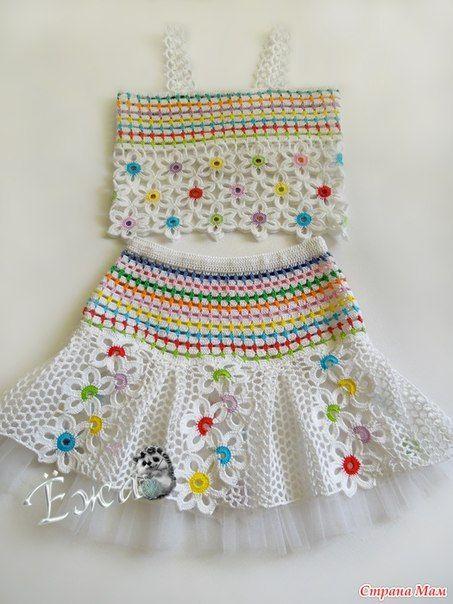 conjunto niña hecho a crochet con flores patrones05 Faldas Tejidas Para  Niñas 795a8b1eb70