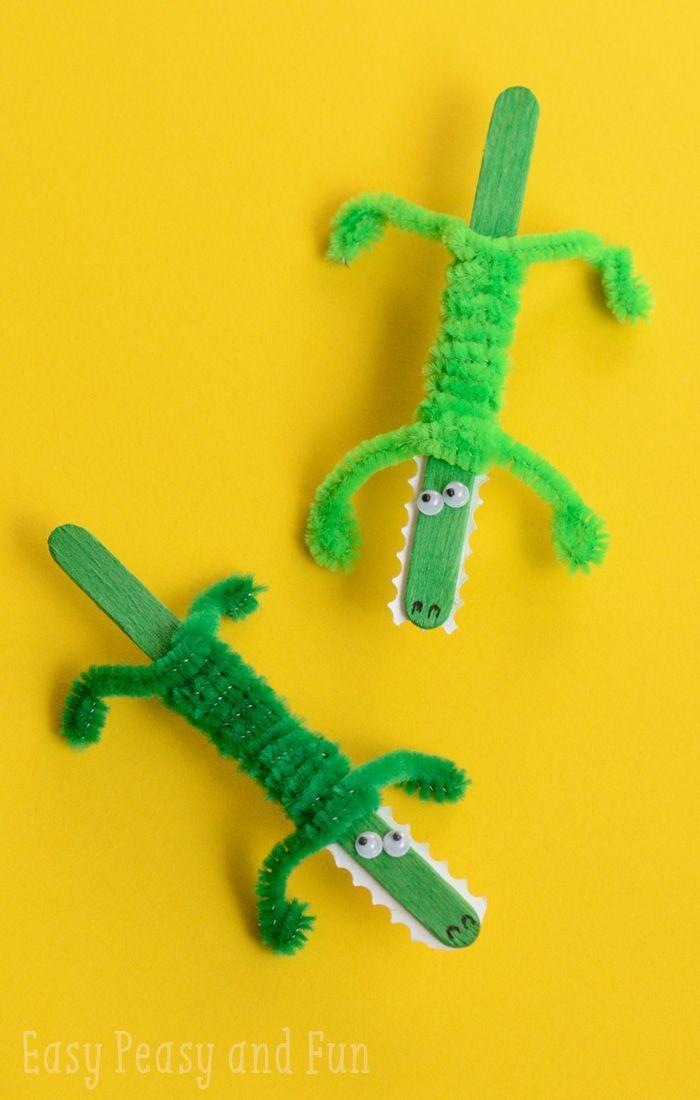 Cute Craft Ideas For Kids Part - 39: Craft Stick Crocodile Craft