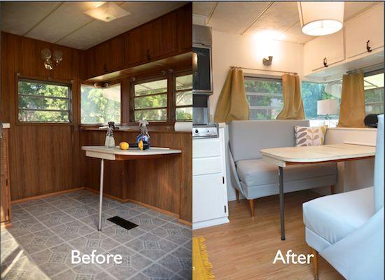 Vintage Camper Turned Glamper Diy Renovation Vintage Camper Remodel Remodeled Campers Vintage Camper