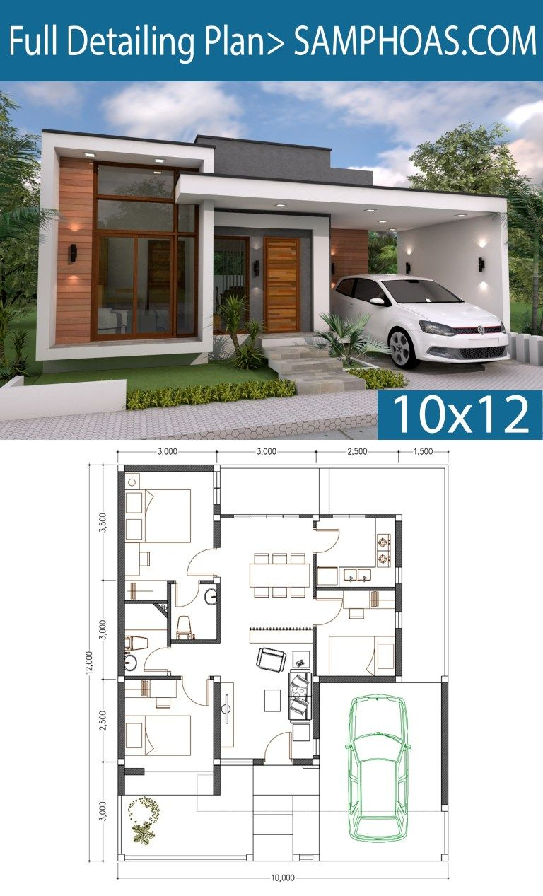 3 Bedrooms Home Design Plan 10x12m Samphoas Plan Bungalow House Plans Modern Style House Plans Modern House Plans