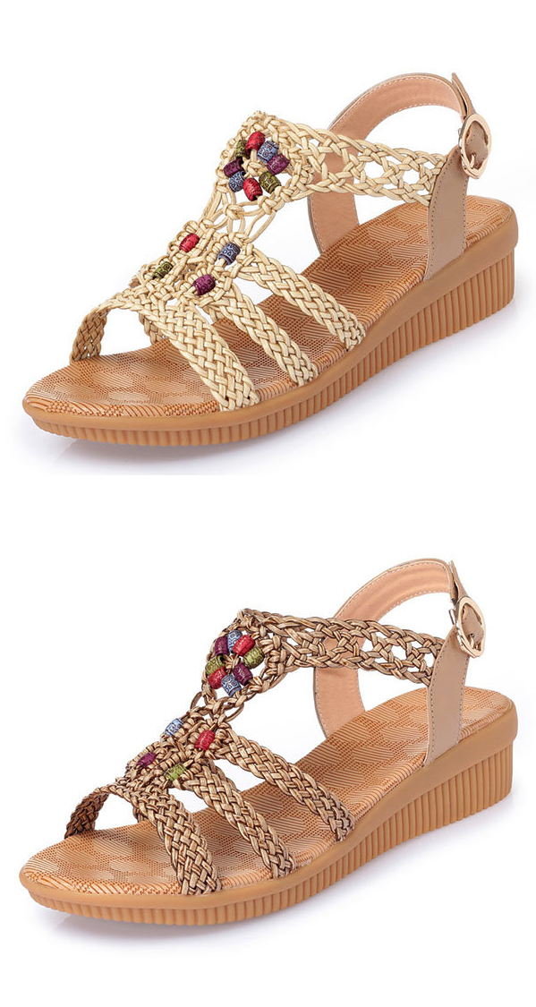 fe4e46bf402f US 27.96 Large Size Bohemia Solid Buckle Strap Woven Peep Toe Soft Sandals