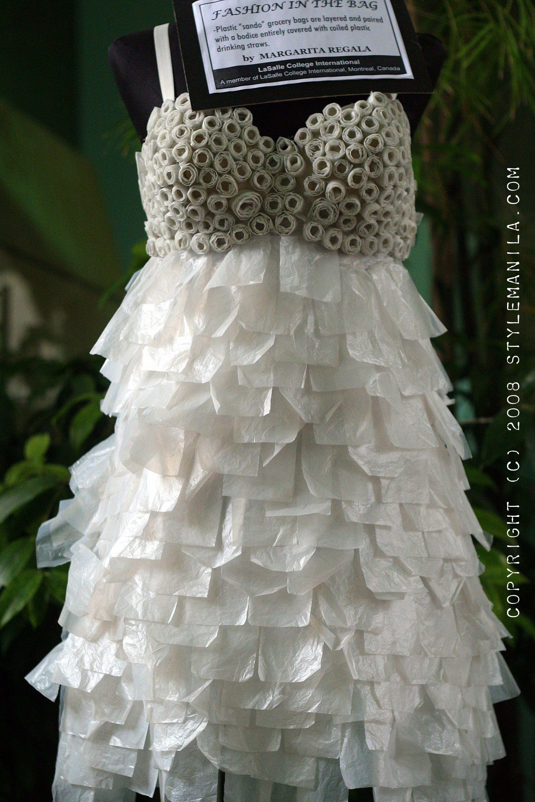This is amazing completely made from plastic bags and for Recycle wedding dress ideas