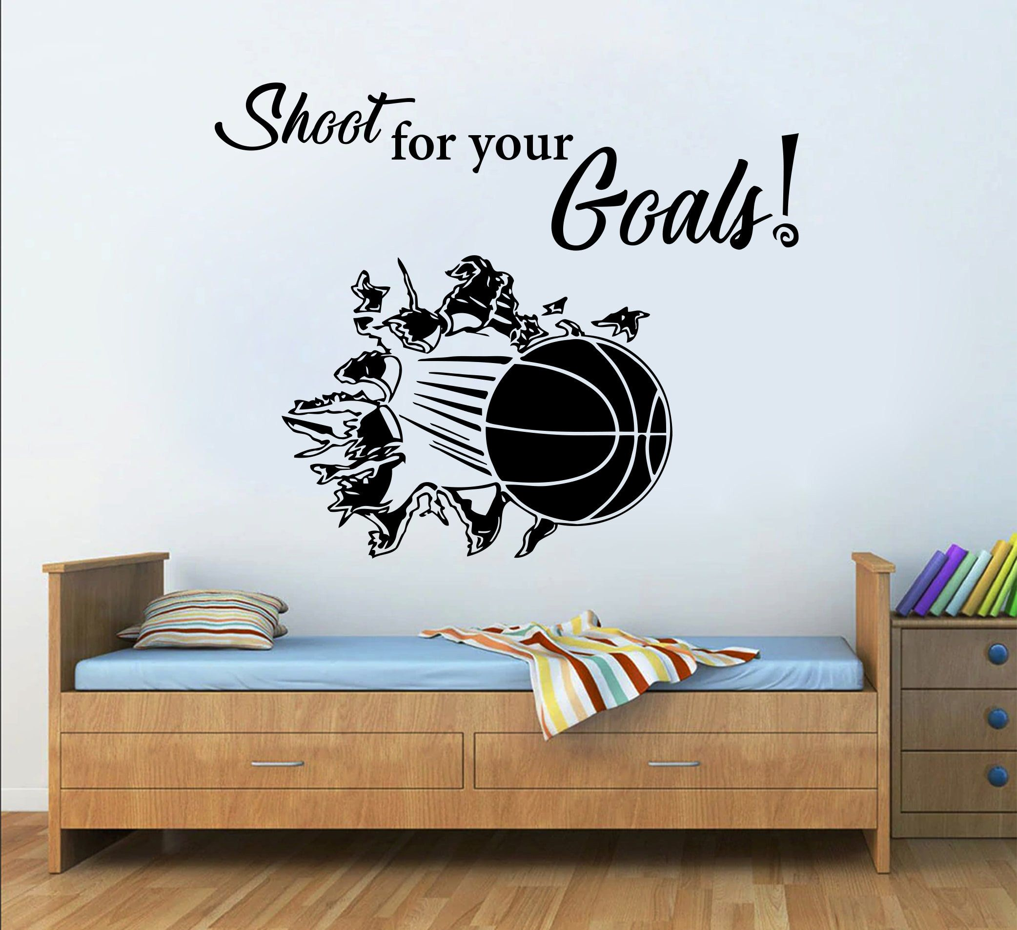 Basketball Custom Quote Wall Decal Sport Vinyl Nba Boys Basket Etsy Sports Wall Decals Kids Room Wall Stickers Wall Quotes Decals