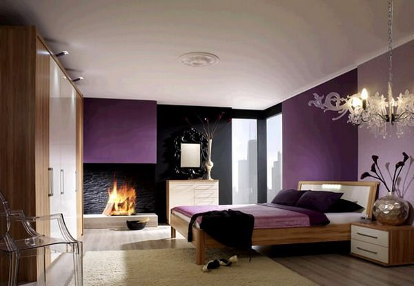 Modern Purple Bedroom Color Scheme with Wood Platform Bed  Spaces