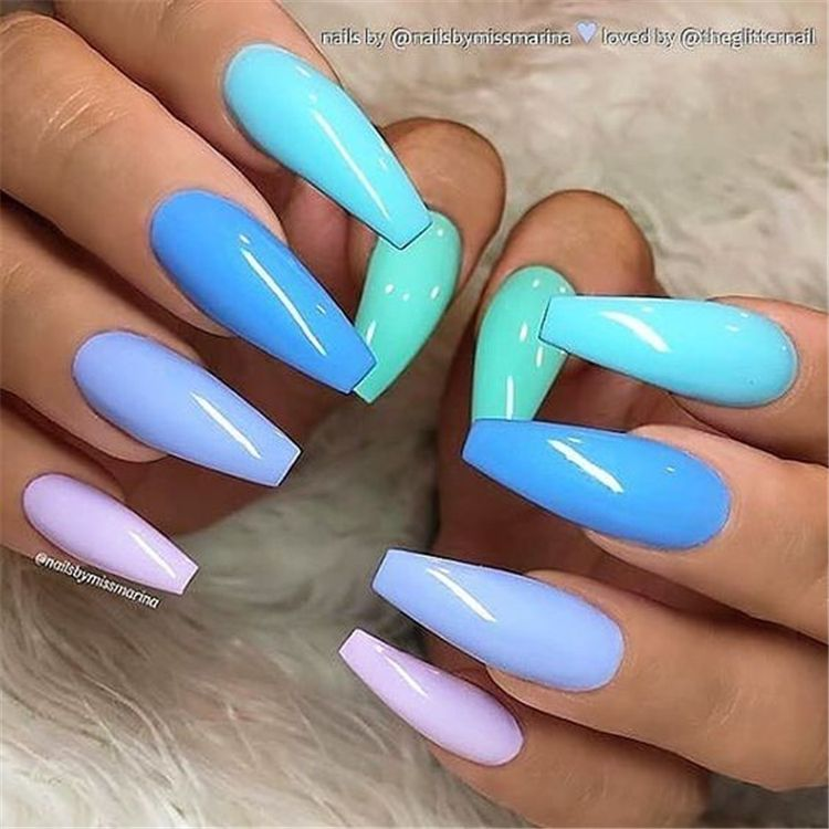 Trendy And Bright Summer Nail Colors You Must Try This Summer Bright Summer Nail Colors Bright Nail Coffin Nails Long Summer Acrylic Nails Best Acrylic Nails