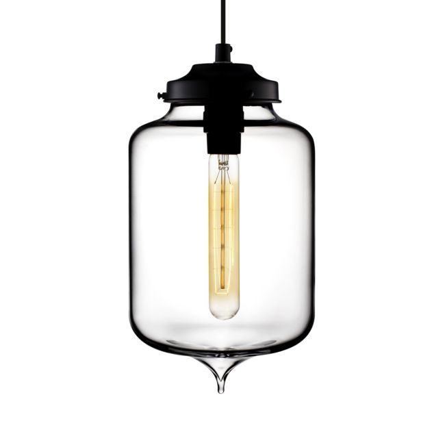 Turret Clear Hand-Blown Glass Pendant Light | Crate and Barrel