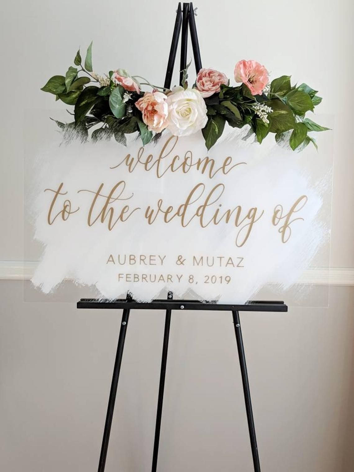 Brushed Acrylic Welcome Wedding Sign Painted Acrylic Wedding Etsy Wedding Favor Table Wedding Signs Wedding Welcome Signs