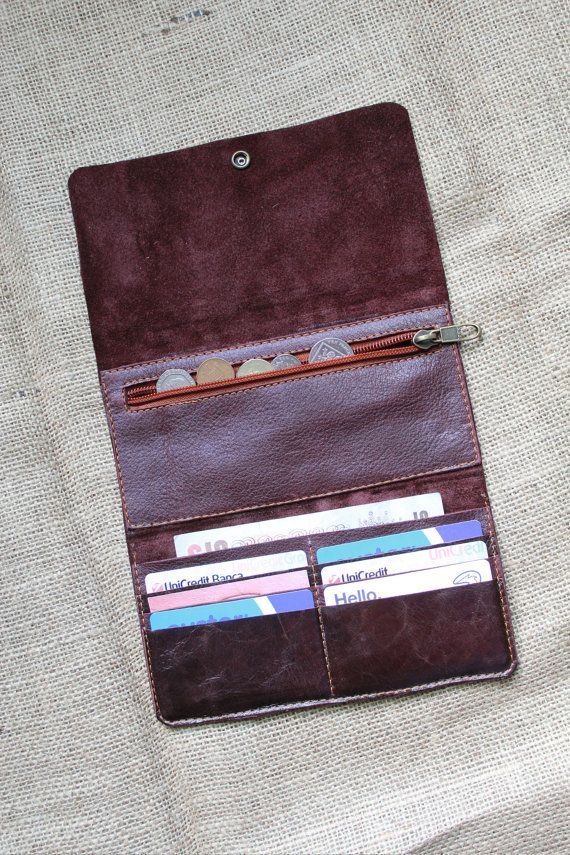 b40ca9352 Leather Wallet Woman- Leather Purse - italian leather PLUM and CHESTNUT -  Coin… Carteras