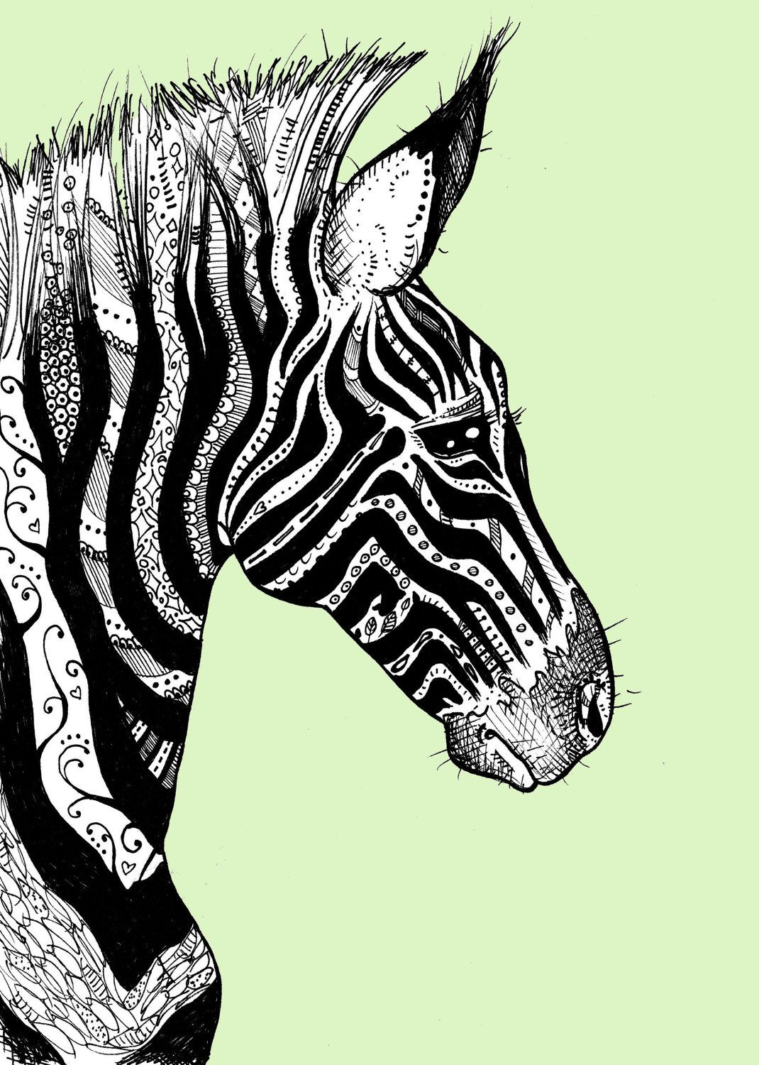 Tattooed Zebra Print 1 on Bright Yellow | Tattoo ideen und Ideen
