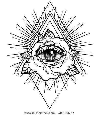 All Seeing Eye Pyramid Symbol In The Engraving Tattoo Style Freemason And Spiritual Illuminati Religion Triangle Magic Vector Illustration