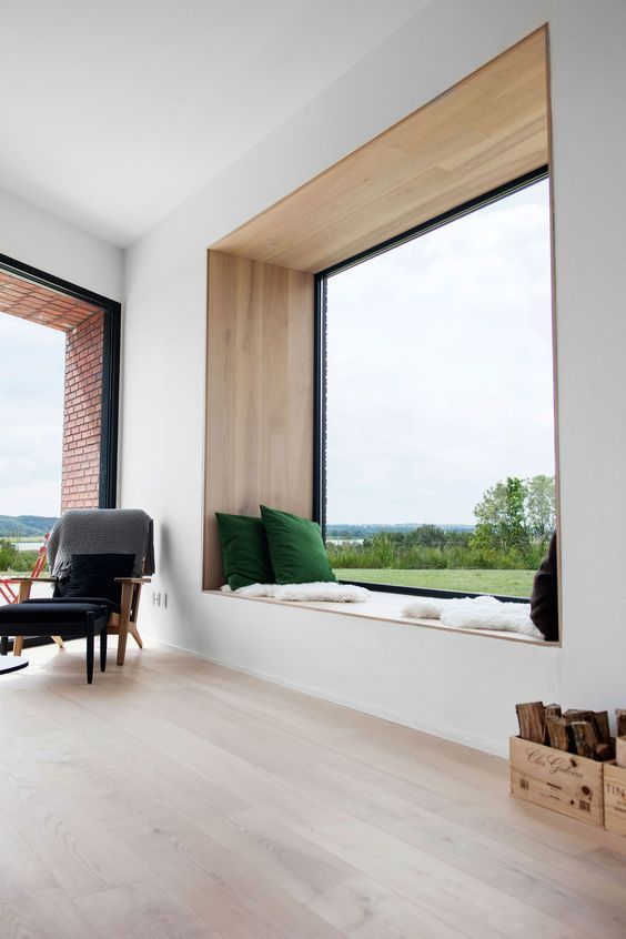 Large Window Design With A Bench