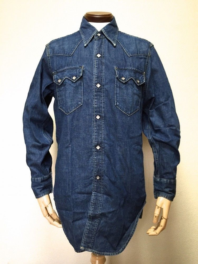 93eca524548 LEVIS Japan Short Horn Denim Western Shirt 38 Vintage 1950 Model Indigo  Blue  Levisjapan  WeartoWork