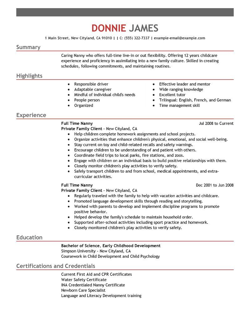 Sample Resume Template Full Time Nanny Resume Example Personal Amp Services Sample