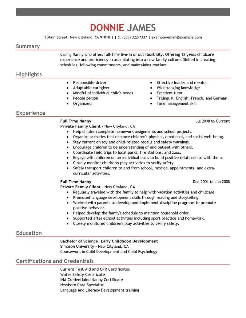 nanny for resume job description part time