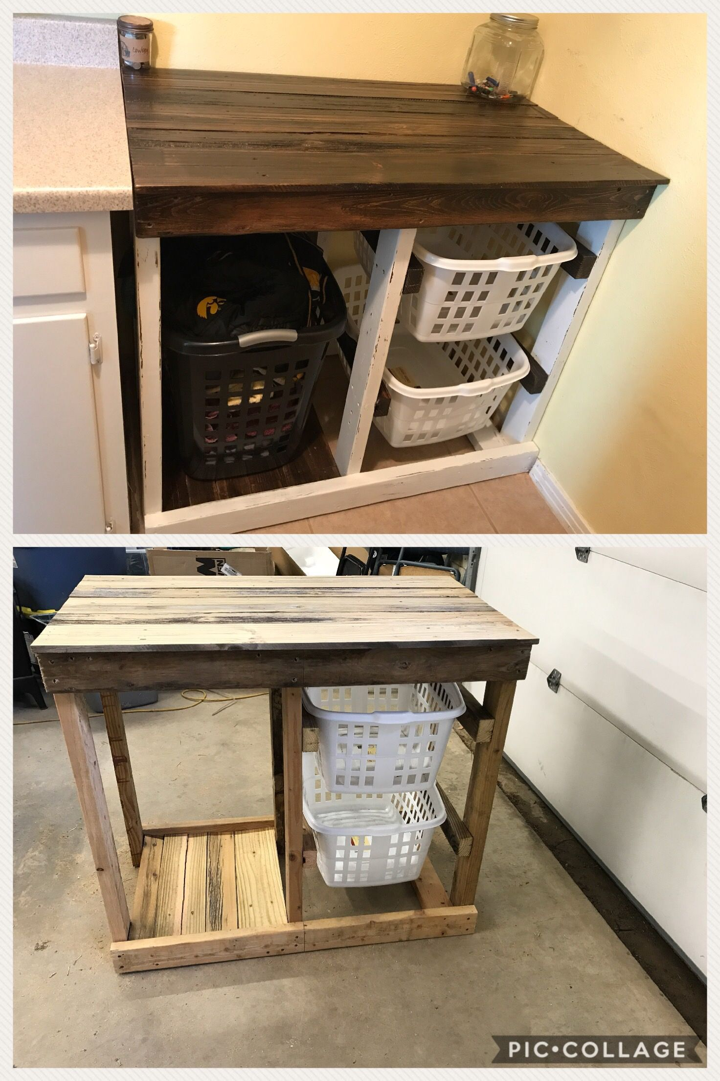 Diy Reclaimed Wood Laundry Folding Table With Basket Storage
