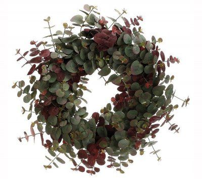 """Faux Eucalyptus Door Wreath WR4836. If you love the look of eucalyptus, this faux wreath is an excellent choice. Disply this wreath on your door or anywhere in your home without the risk of the dye from natural eucalptus bleeding on your wall or door.. 18"""""""
