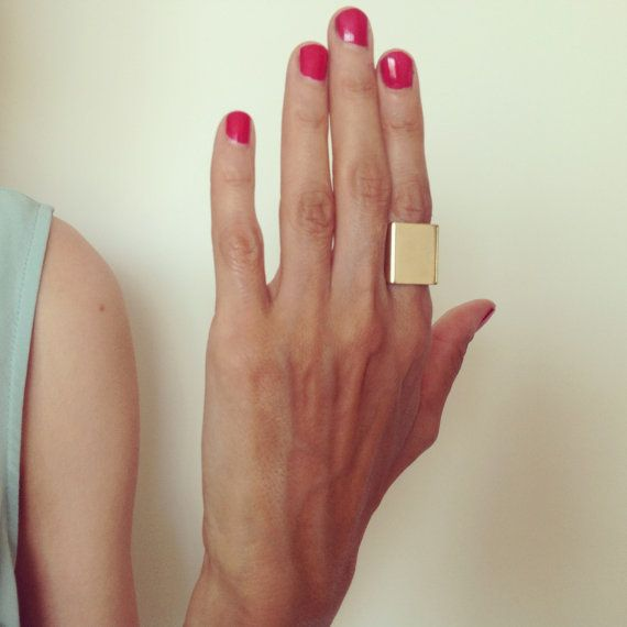 Statement ring Silver ring Unique ring Geometric square ring Large ring Gift for her Minimalist ring Simple ring Big ring Thick ring