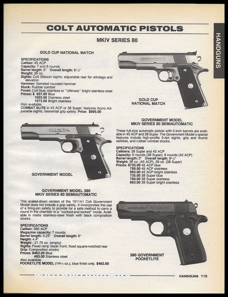 1996 COLT MKIV Series 80 Gold Cup National Match, Government \ Go - sample firearm bill of sale